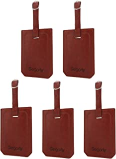 Segarty PU Leather Travel Luggage Suitcase ID Tags, Set of 5, Brown (Brown) - 550119_06