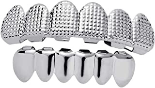 Baoblaze Copper 18K Gold Plated Glossy Hip Hop Teeth Grills Caps, Hippy Grills for Hollowen Party Mouth Accessories Cosplay