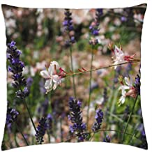 LESGAULEST Throw Pillow Cover (24x24 inch) - Flowers Plant Blue Lavender White Glory Candle