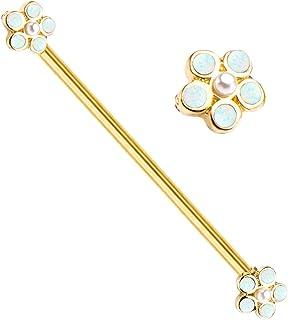 18 GA Pearl Blossom Sparkle Cartilage Tragus Earring Davana Enterprises