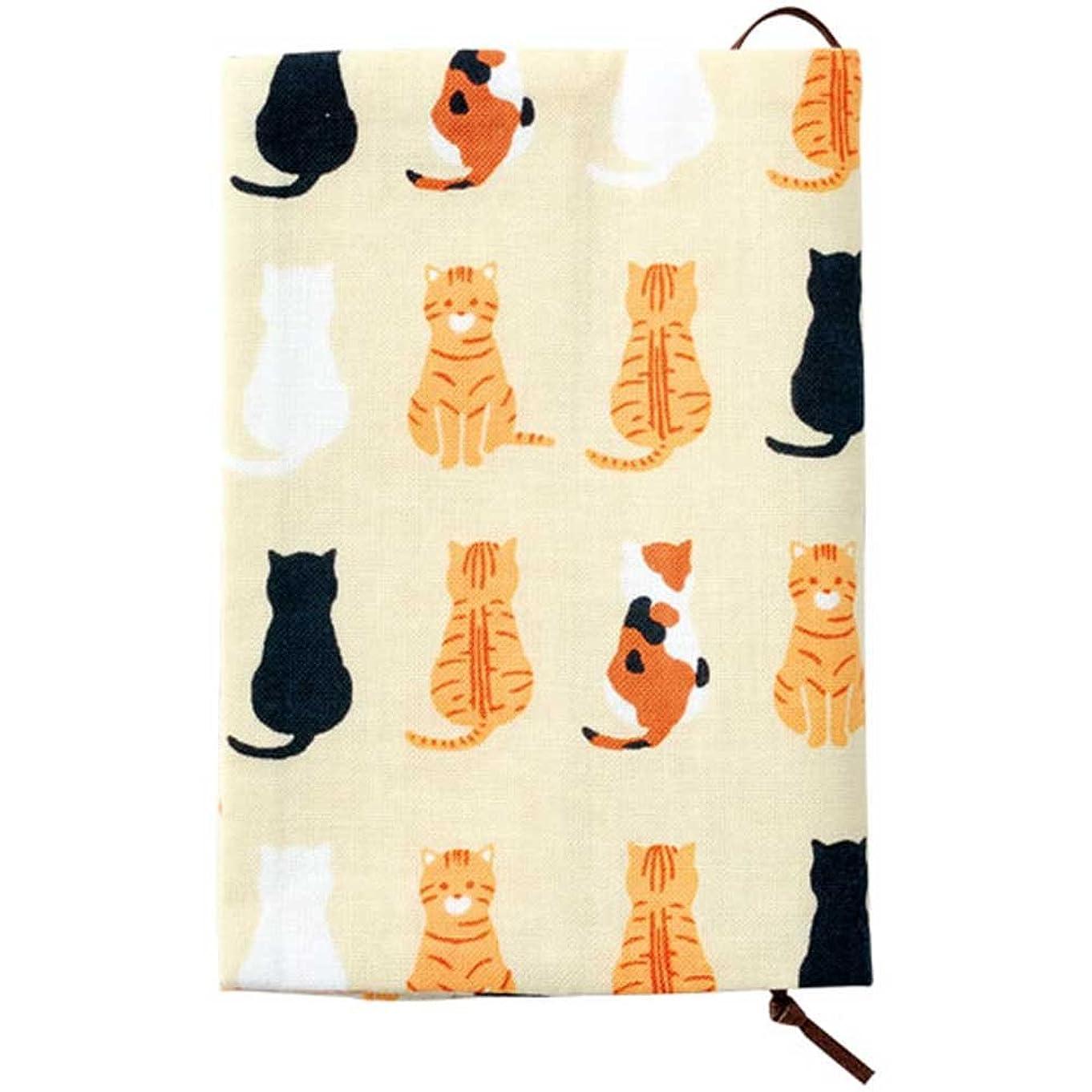 ベルベットシェードフローティング濱文様 文庫本カバー おすわり猫ならべ オフ ブックカバー