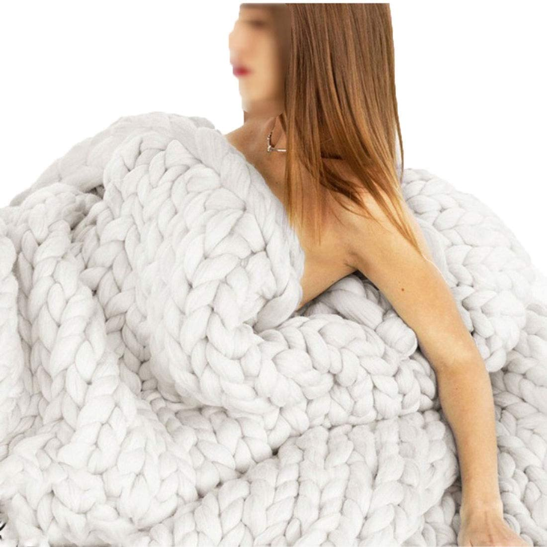 QWERTYUKJ online Free shipping on posting reviews shop Chunky Knit Blanket Soft Bulky Bed Hand Throw for Made