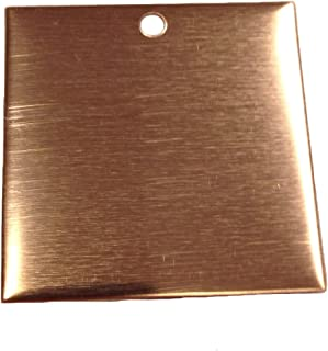 RMP Stamping Blanks, 1-1/2 Inch Square with Hole, 16 oz. Copper 0.021 Inch (24 Ga.) - 10 Pack