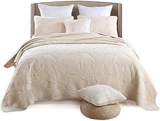 RANRANHOME Vadderat överkast överkast tvättbar bomull broderi palmblad mönster vändbar täcke, 3 delar sängkläder täcke örn...