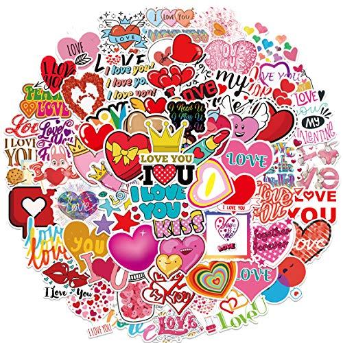 QWDDECO Love Theme Sticker Set 100 PCS Kawaii Aufkleber Sticker for Laptop, Wasserflaschen, Skateboard, Notebook, Gitarre, Reise, Fahrrad, Box