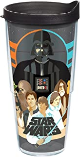 Tervis 1254455 star Wars - Classic Group Insulated Tumbler with Wrap and Black Lid, 24 oz, Clear