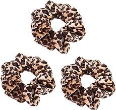 Yantu Velvet Leopard Print Hair Elastics Hair Ties Set Scrunchy Hair Bands Hair Ties Ropes Scrunchies Pack of 3 Pcs for Gi...