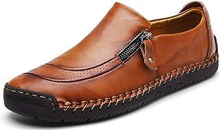 Moodeng Décontracté en Cuir Plat Mocassins Chaussures Bateau Sneaker Non-Slip Durable Respirant Mocassins