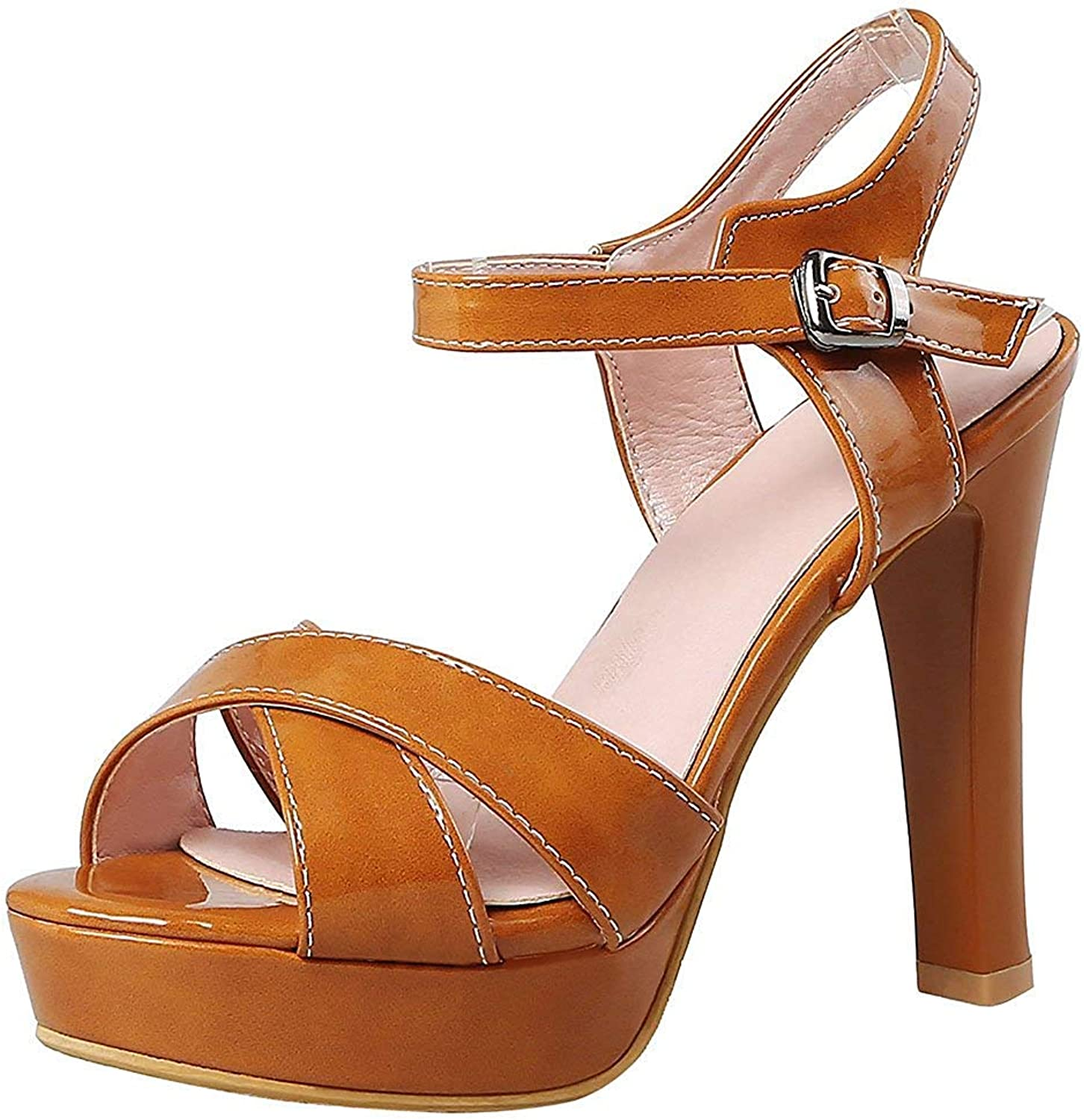Wallhewb Women's Sexy Ankle Strap Buckle Peep Toe Sandals Platform Chunky High Heels shoes Easy to Match Sweet Elegant Leg Length Girl Onsale Comfortable Antiskit Dress Brown 6 M US High Hees shoes