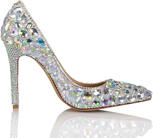 XLY Mariage Nuptiale des Femmes Talon Talon Haut Scintillant Prom Party Court chaussures Pointed Toe Pumps Stilettos Chaussures habillées  chaud