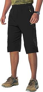 LASIUMIAT Men's Capri Shorts Below Knee Quick Dry Hiking Shorts 3/4 Pants 3 Zipper Pockets