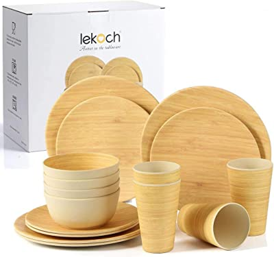 Lekoch 16-Piece Bamboo Tableware Set for 4, Dinnerware Set Include Dinner & Salad Plate Cup Bowl(4 Guests (Wood Grain))