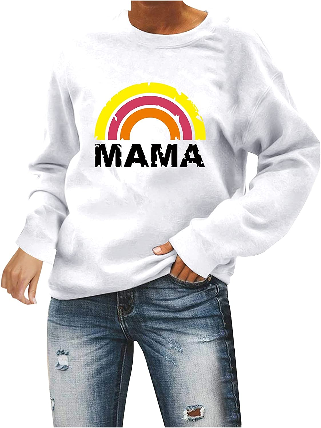 Women Casual Long Bombing new work Sleeve Rainbow OFFicial shop Sweatshirt Printed Comfy Blouse