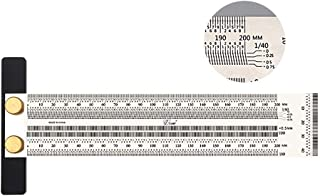 Tools Home Improvement,Ultra Precision Marking Ruler Scale Ruler T-Type Hole Stainless Scribing Carpentry Scribe Angle Ruler Square Ruler 4 Sizes Carpentry Tools Ruler + Pencil + Pencil Lead 200mm
