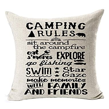 Retro camping rules be relax make memories with family and friends enjoy the holiday Throw Pillow Cover Cushion Case Cotton Linen Material Decorative 18  x18'' Square (2)
