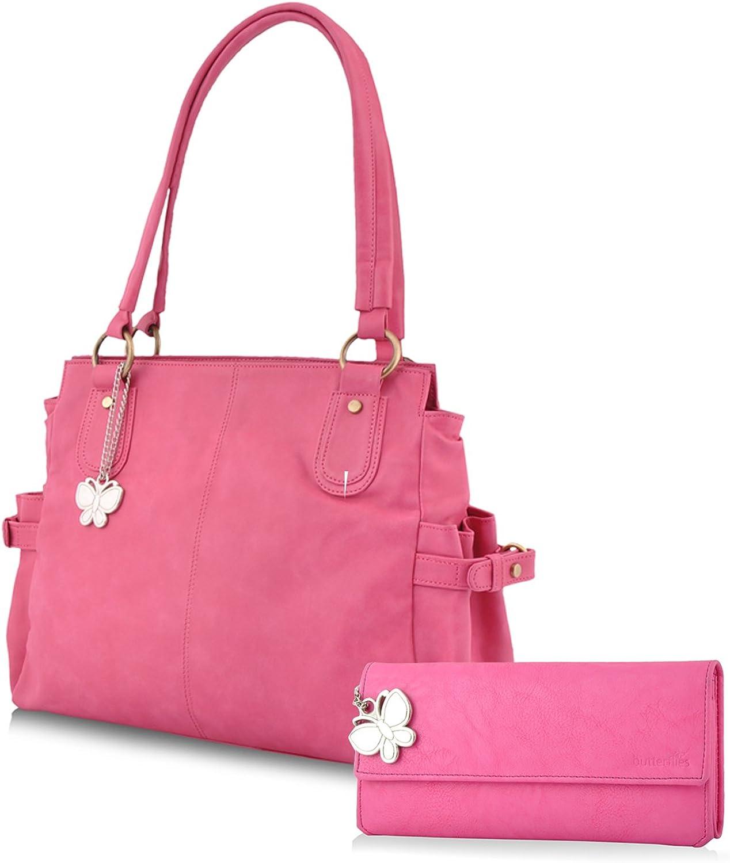 Butterflies Women's Trendy Combo Wallet (Pink) (BNS CB039)