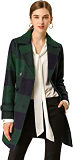Women's Double Breasted Notched Lapel Winter Long Plaids Trench Coat