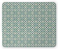 青とベージュのマウスパッド、花のある抽象的な形東洋中東スクロール効果、標準サイズの長方形の滑り止めのゴム製マウスパッド、ティールネイビーブルーベージュ