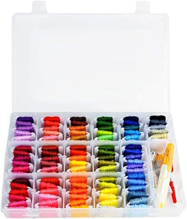 Embroidery Floss 144Pcs Friendship Bracelet String Kit, obmwang 96 Colors Embroidery Threads Rainbow Floss Bobbins and 48 Pcs Cross Stitch Kit with Organizer Storage Box