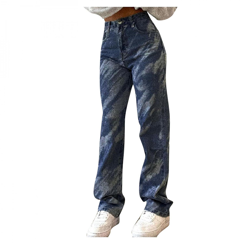 Padaleks Women's Loose Wide Leg Denim Pants for Women Button High Waist Plus Size Autumn Pocketed Jeans Trousers
