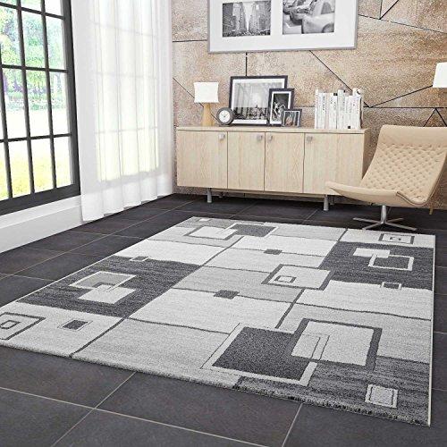 VIMODA Moderner Designer Teppich Gemustert Strapazierfähig in Grau, Maße:40 x 60 cm