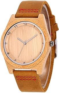 ETbotu Men Wood Watch Fashionable Bamboo Leather Band Waterproof Quartz Wristwatch