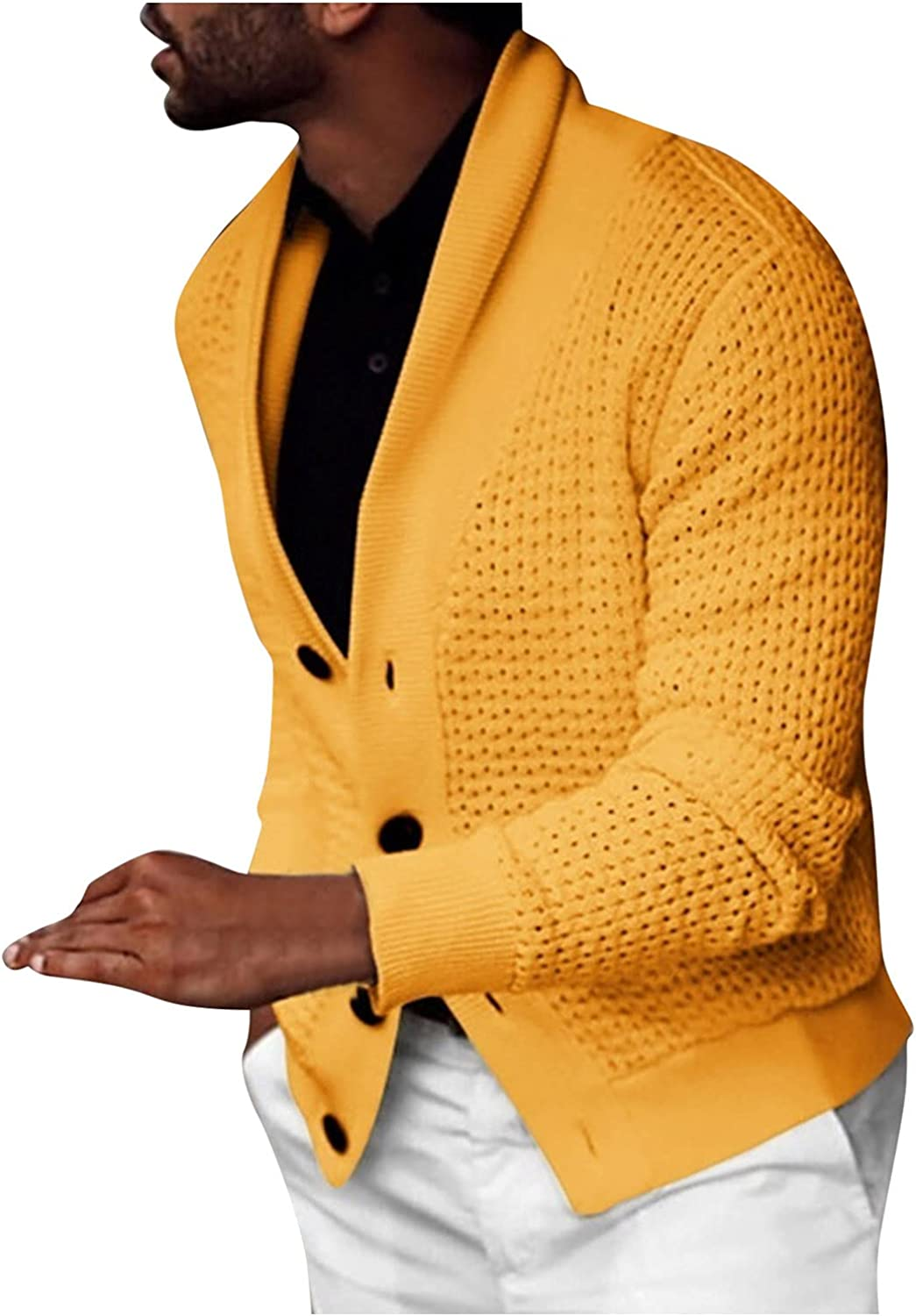 Huangse Men's Cable Knitted Sweaters Ruffle Shawl Collar Cardigan Lightweight Wool Blend Drape Cape Overcoat V Neck Sweater