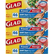 Glad Food Storage and Freezer 2 in 1 Zipper Bags - Quart Size - 46 Count Each (Pack of 3) (Package May Vary)