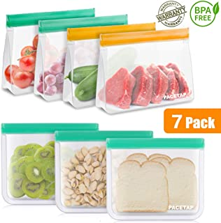 Reusable Sandwich Bags, PACETAP 7 Pack Stand-Up & Lay-Flat Reusable Snack Bags, Extra Thick BPA Free Storage Bags - Leakproof Freezer Safe Food Bags for Kids Lunch Home Organization
