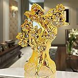 Powzz ornament Soldi in Ceramica Stile Europeo, Albero della Fortuna, Decorazioni per La Casa, Soggiorno Moderno Regali di Nozze, 23 * 12 * 29 Cm, Diamante Bianco Albero della Fortuna d'oro