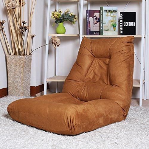 Merax PU Leather Foldable Floor Sofa Chair Lazy Sofa Chair (Black)