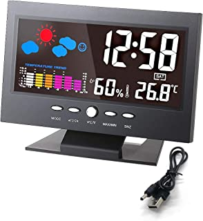 """Digital Alarm Clock 5.7"""" Weather Forecast Colorful Screen LCD Display Indoor Time Date Humidity Temperature Calendar Desk Clock with Voice Control Backlight Charging Cable for Women and Men Bedroom"""
