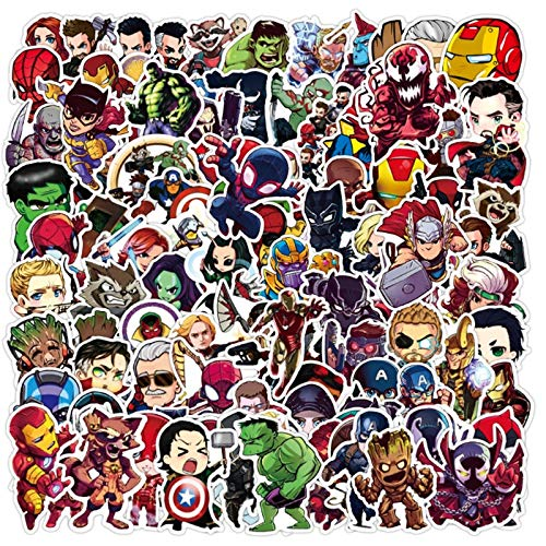 BUCUO Superhéroe Doodle monopatín Impermeable Maleta de Viaje portátil Pegatina para Equipaje niños Lindos Juguetes para niñas 100 Uds