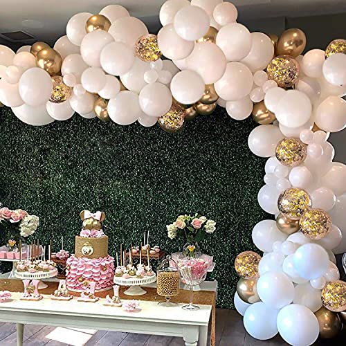 White Balloon Arch Garland Kit, 124 Pieces White Gold and Gold Confetti Latex Balloons for Baby Shower Wedding Birthday Graduation Anniversary Bachelorette Party Background Decorations