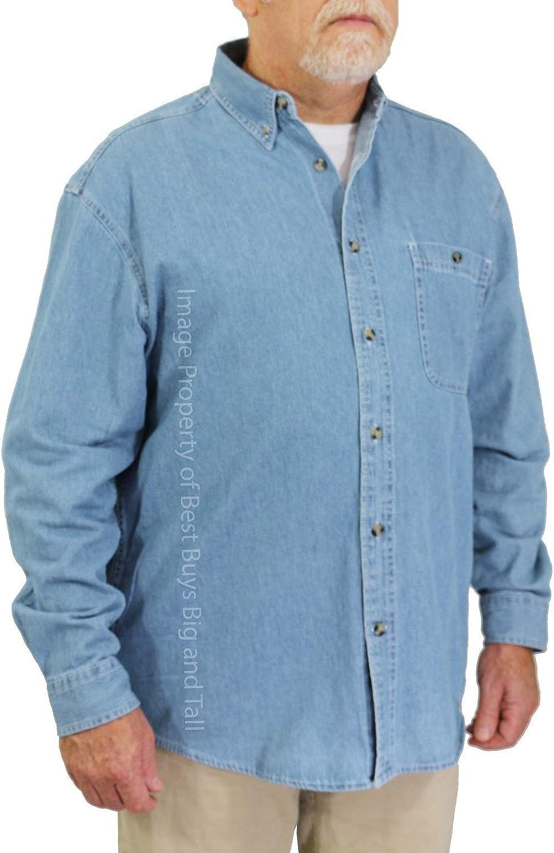 ROCXL Big & Tall Men's Long Sleeve Denim Shirt 3XL – 6XLT