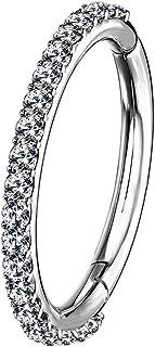OUFER Boucles d'oreilles cartilage en acier inoxydable 16 g avec 5 pétales transparents en oxyde de zirconium pour tragus,...