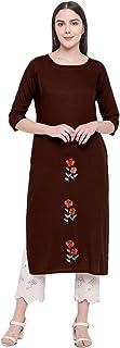 Cenizas Women's Rayon Floral Embroidered Knee Long Straight Kurti/Kurta