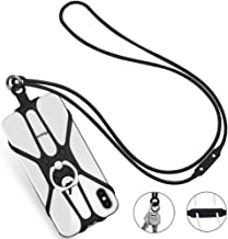 Phone Lanyard, COCASES Detachable Phone Neck Strap Silicone Holder with Ring Stand Grip for iPhone, Galaxy & Most Smartphones(Black)