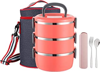 YBOBK HOME Insulated Lunch Box Leak Proof Lunch Container All-in-one Stackable Lunch Box Stainless Steel Bento Lunch Box with Bag and Portable Flatware Set for Adults (Orange)