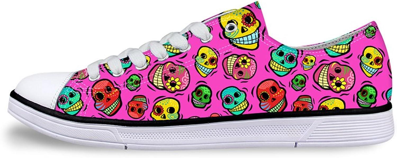 Mumeson Stylish Cartoon Skull Pattern Low Tops Women Girls Canvas shoes Walking Trail Sneaker Flats