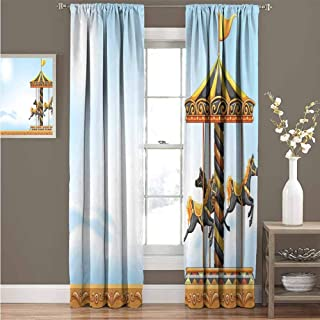 GUUVOR Outdoor Shading Insulated Curtain Carousel Ride Amusement Park Platform Carnival Circus Horse Roundabout Soundproof Shade W72 x L84 Inch Black Yellow Pale Blue