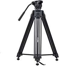 Andoer 152cm/5ft Camera Camcorder Tripod with 360° Fluid Damping Head/Stable Middle Support/Nail Foot Mg-Al Alloy Max. Load 8kg/18Lbs with Carry Bag for Canon Nikon Sony DSLR ILDC