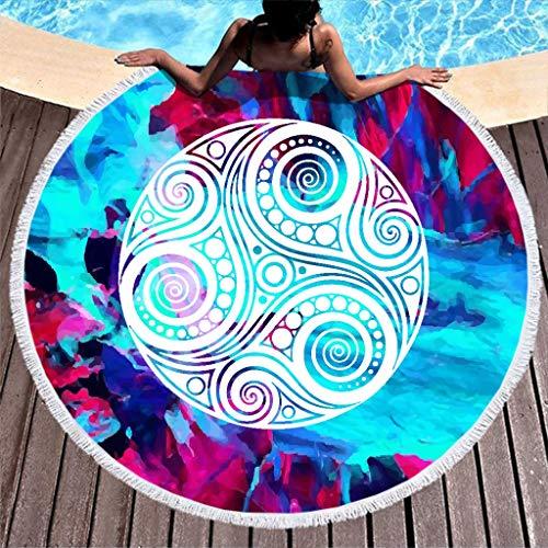 N/A Wikinger Roundie - Toallas de playa (lavables de 59 pulgadas), Fibra de poliéster, blanco, 150 cm