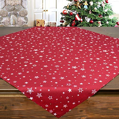 Tischdecke Snow rot, 85x85 cm, Moderne Mitteldecke zu Weihnachten