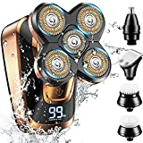 Head Shavers for Bald Men,GOOLEEN Electric Shavers for Men Cordless Rechargeable Wet Dry,5-in-1 Waterproof Electric Razor Rotary Shaver Grooming Kit with Hair Clippers Beard Trimmer Nose Hair Trimmer