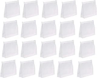 sansheng 20Pcs Mini Small PVC Transparent Plastic Cosmetic Organizer Bag Pouch With Zipper Closure for Vacation Travel, Ba...