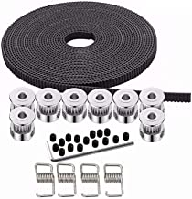 Kee pang 10M Rubber Opening Belt 6mm Width+8pcs GT2 Pulley 20 Teeth Bore 5mm +4pcs Belt Locking Spring for 3D printer