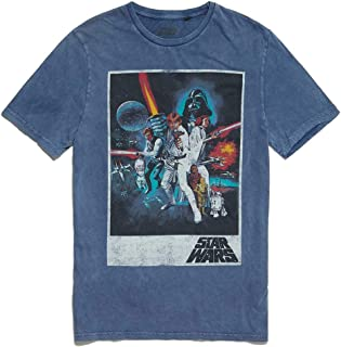 Camiseta clásica de Star Wars New Hope con póster azul ácido lavado por Re:Covered