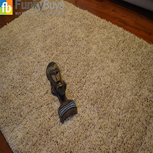 FunkyBuys Shaggy Rug Plain 5cm Thick Soft Pile Modern 100% Berclon Twist Fibre Non-Shed Polyproylene Heat Set - AVAILABLE IN 6 SIZES On Amazon (Beige, 66cm x 110cm (2ft 3' x 3ft 7'))