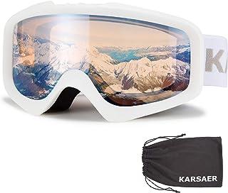 Ski Polarized Snowboard Goggles Men Women Anti Fog Shiny White Protection Lens